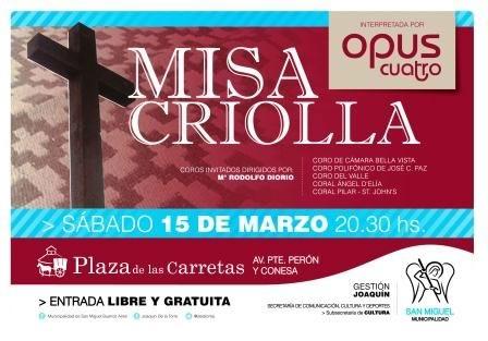 San Miguel se presenta la Misa Criolla interpretada por Opus Cuatro