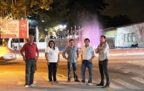 Jaime Méndez recorrió por la noche la nueva iluminación junto a otros funcionarios de Obras Públicas y Coordinación Territorial