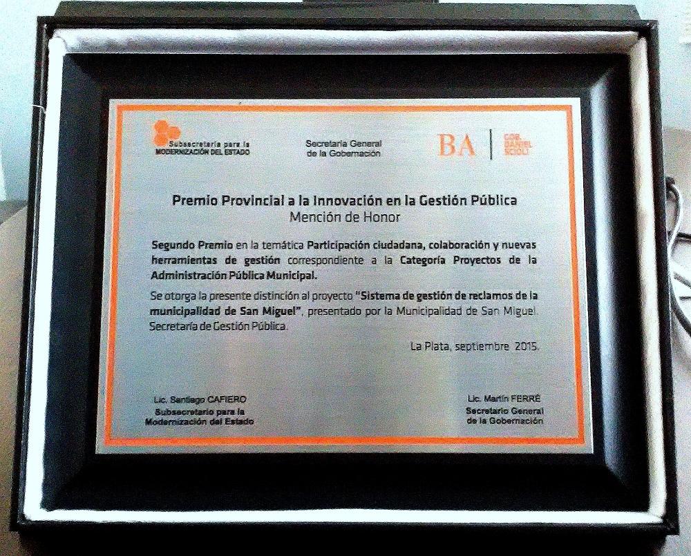El Municipio de San Miguel recibió otra distinción por la Innovación en la Gestión Pública