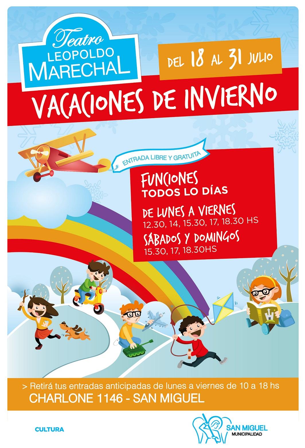 Arrancan las vacaciones de invierno y el Municipio de San Miguel ofrece shows gratuitos para todos los vecinos